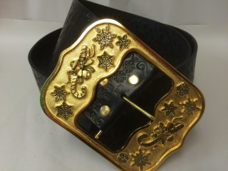 Father Christmas Belt Gold with Ink Design