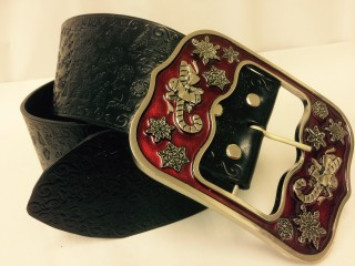Santa Claus Belt Silver with Red Enamel