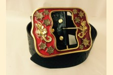 Santa Claus Belt Gold Plated with Red Enamel